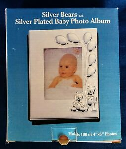 Silver Bears Silver Plated Baby Photo Album Godinger Holds 100 46