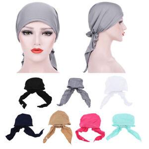Pre-tied-Silky-Beanie-Hat-Scarf-Chemo-Cap-Turban-Head-Wrap-Shawl