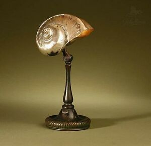 Tiffany Studios Original Signed Nautilus Shell Table Lamp