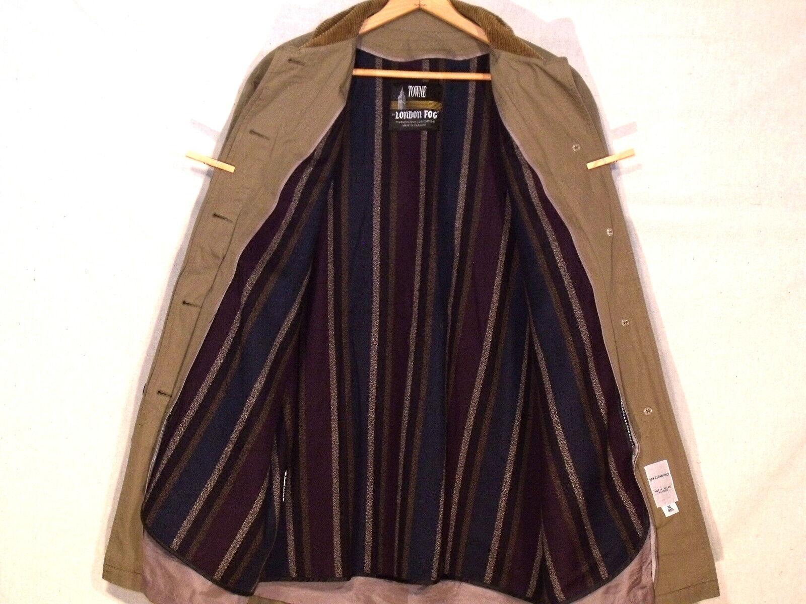 London Fog Fog Fog Towne VTG mid length lined taupe button coat   size 12R   great  b23 c2b0ab