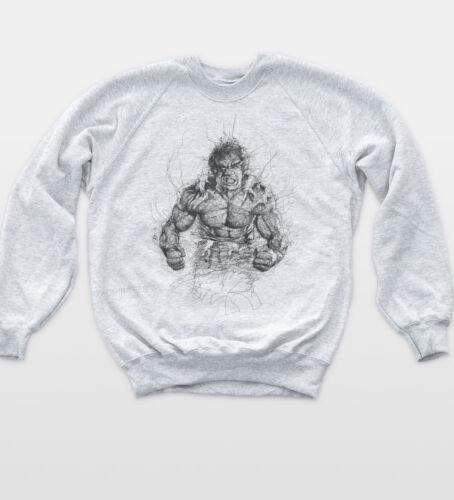 Hulk Sketch Retro Sweatshirt Indie Hipster Comic Jumper Vintage Art Sweat Top