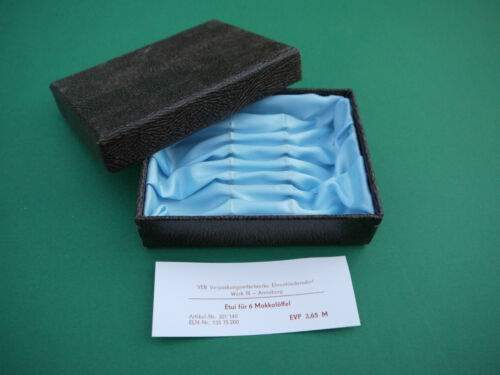 Etui für 6 Mokkalöffel Besteckkasten DDR blau hellblau Löffel Besteck