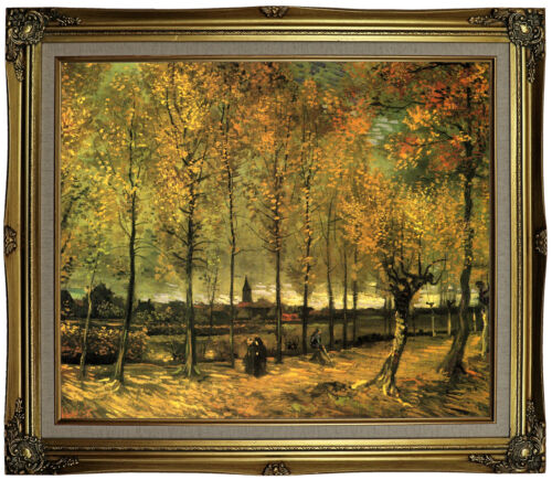van Gogh Lane with Poplars Framed Canvas Print Repro 20x24