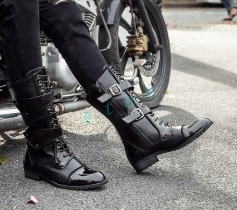 Men's Gothic Leather Military Lace Up Punk Knee High Boots Riding Combat Shoes