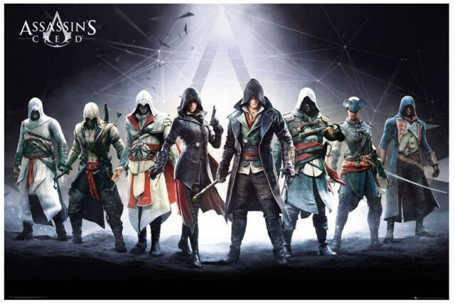 ASSASSIN'S CREED ~ 8 CHARACTER GROUP ~ 24x36 VIDEO GAME POSTER ~ NEW!