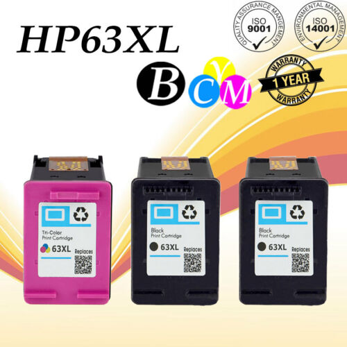 3PK 63 XL Ink Cartridge Set For HP Envy 4512 4522 4526 Deskjet 1111 2136 3637