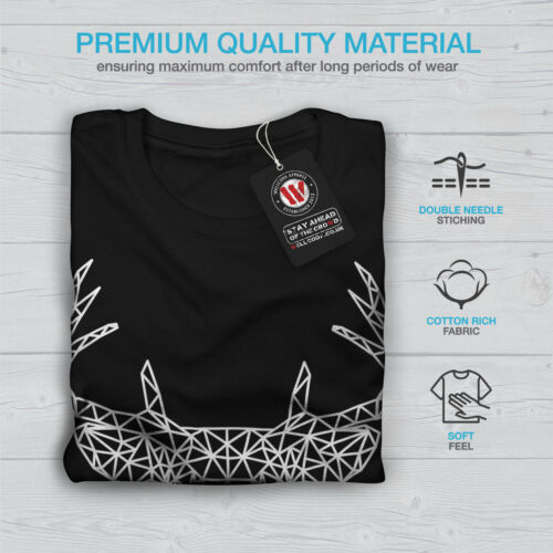 Wellcoda Deer Head Graphic Womens Long Sleeve T-shirt Linework Casual Design