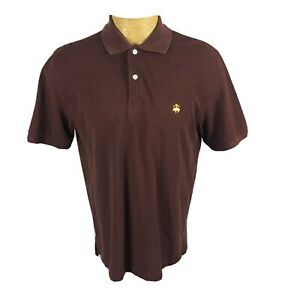 Brooks-Brothers-Mens-Size-Medium-Burgundy-Short-Sleeve-Polo-Shirt-Collared-Golf