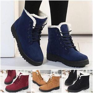 4ee3154d7777d Femme Bottine Bottes Neige Fausse Fourrure Lacet Chaussures Chaud ...