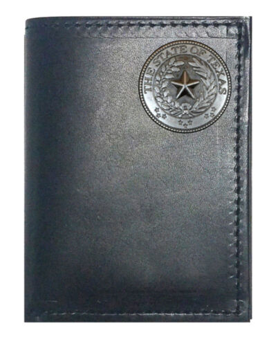 Made in USA Custom Black Harness Leather Tri-fold Wallet