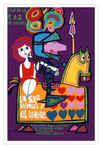Spanish movie Poster.VENUS Y DIABLO art.Funny graphic design.Home Interior Decor