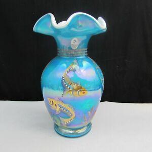 Fenton-Turquoise-Overlay-Iridized-Designer-Showcase-Hand-Painted-Vase-2001-W104