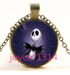 Nightmare Before Christmas Cabochon bronze Glass Chain Pendant Necklace TS-3314