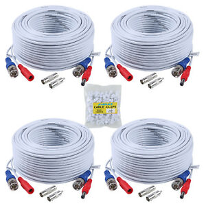 ANNKE-4x-100ft-White-Video-Power-Cable-BNC-RCA-Wire-for-Security-Camera-System