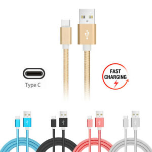 USB-Type-C-2m-Nylon-Braided-Fast-Charging-Data-Cable-USB-C-Charger-Lead-6ft