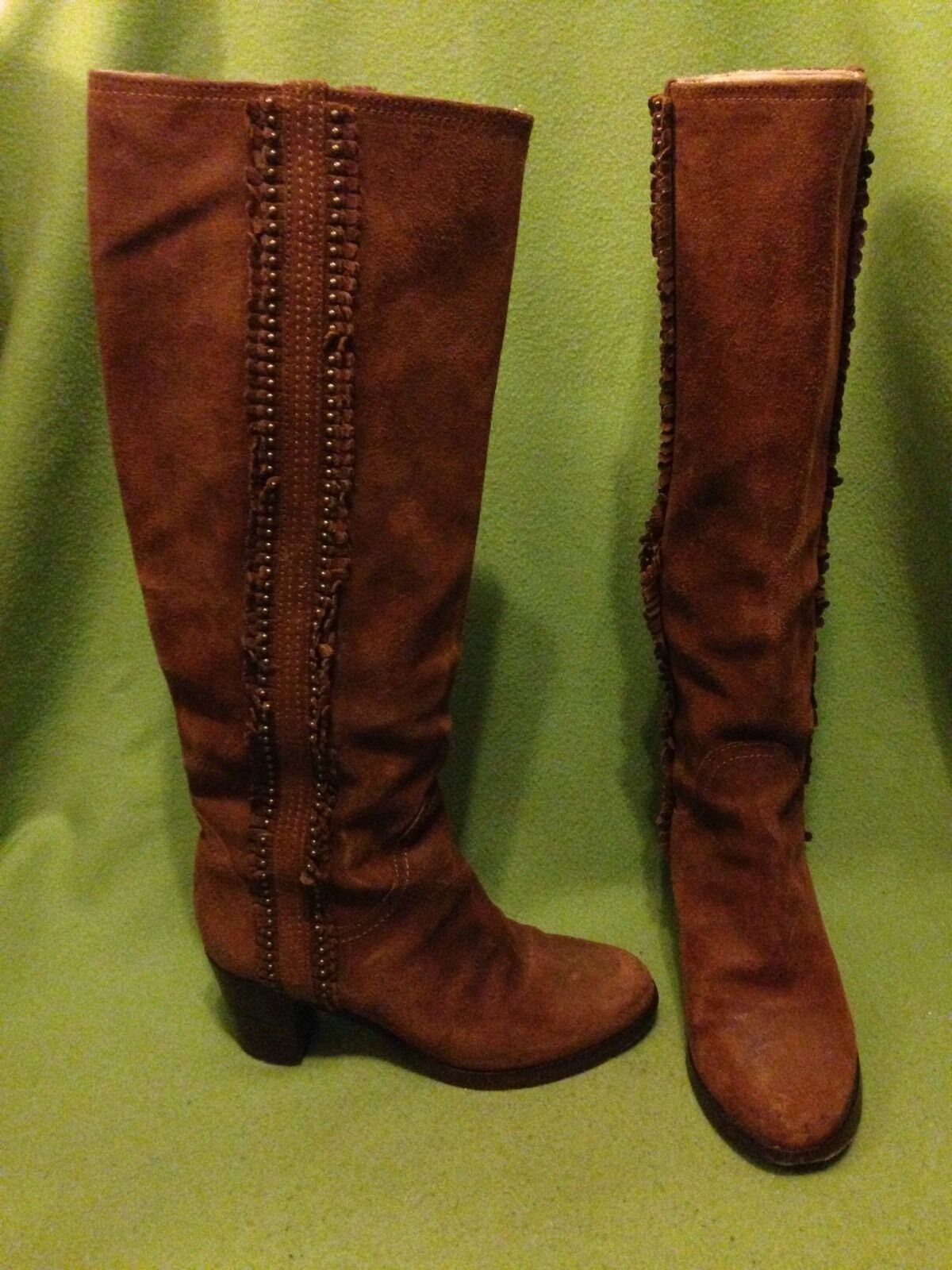 Rusty Brown Suede Frye Bella Lo Flwr Pull Boots 6.5