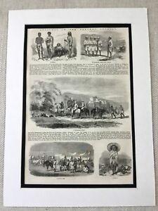 1856 Stampa Santal Persone Nepal Etnico Primitive Tribe Antico Originale