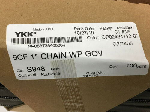 "109 YARD ROLL YKK ZIPLON® Zipper 9CF 1/"" Chain Coil Zipper Tape RANGER GREEN"