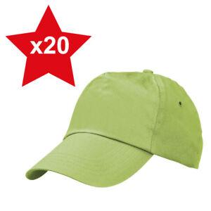 657b5d66154 20 x Lime Green Classic Plain Adjustable Baseball Caps 100% Cotton ...