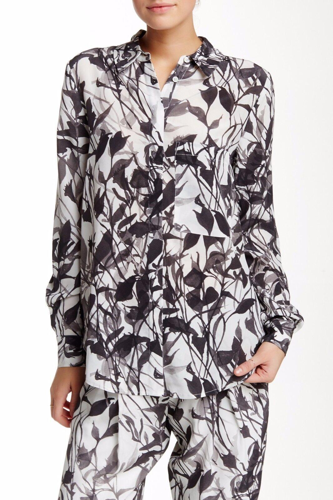 Haute Hippie Silk Husband Blouse Top in Swan multi    Größe S