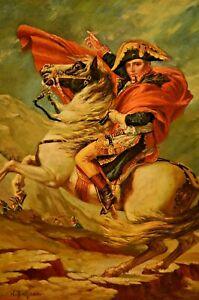 BINGHAM-Signed-Napoleon-Bonaparte-Crossing-Alps-Landscape-Portrait-Oil-Painting