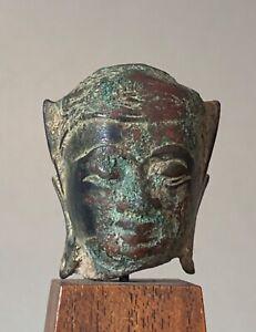 Tete-de-Bouddha-en-bronze-Thailande-17-eme-siecle-Art-D-Asie-du-Sud-Est