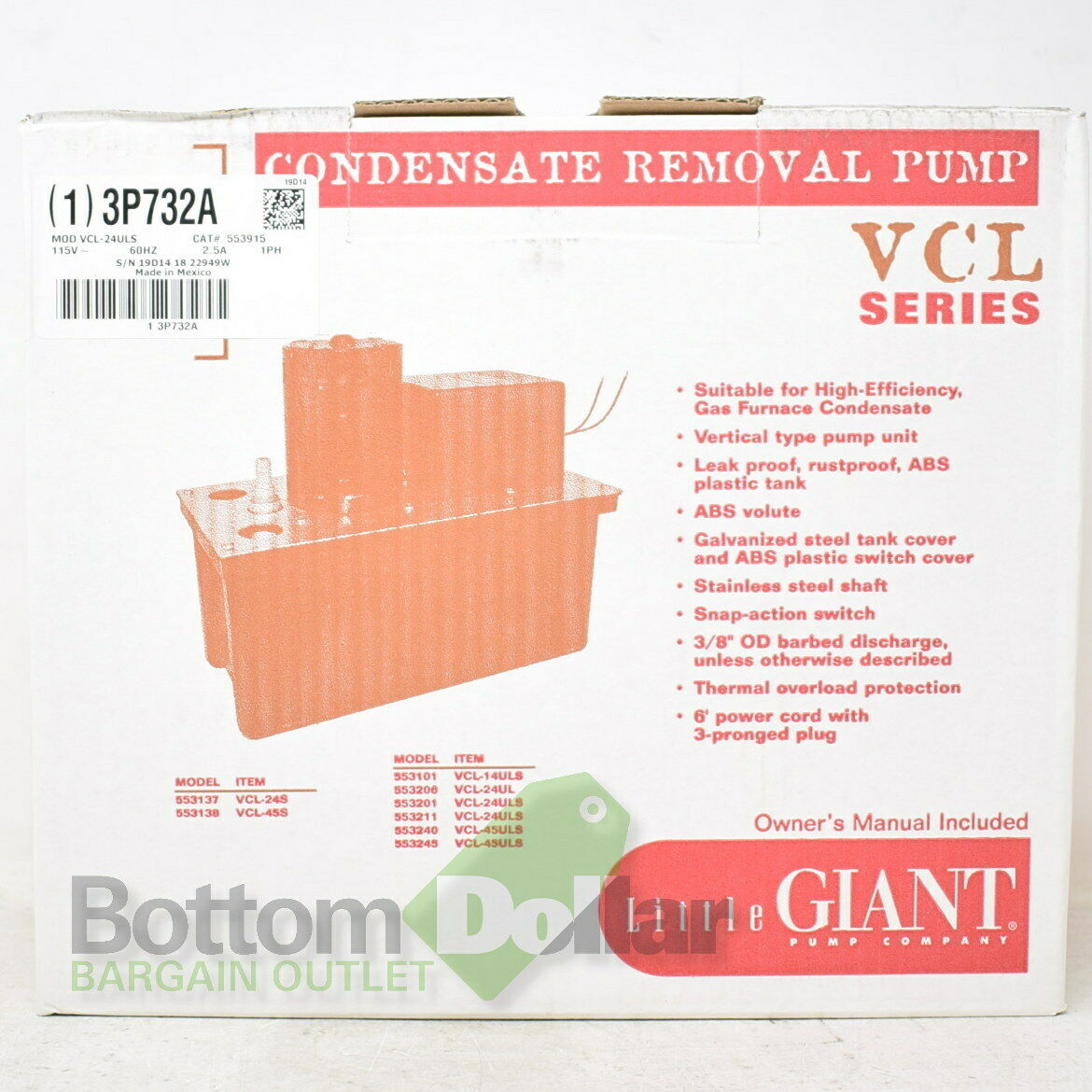 Little Giant VCL-24S 553137 High Capacity Automatic Condensate Removal Tank Pump