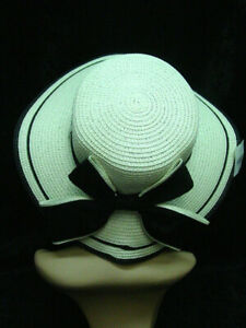 wide brimmed faux straw sun hat off white with black trim one size