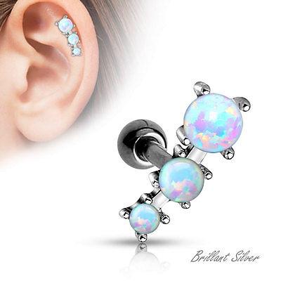 Tragus Cartilage Piercing Ohrstecker Ohrring Stecker Silber Opal Stein Weiss