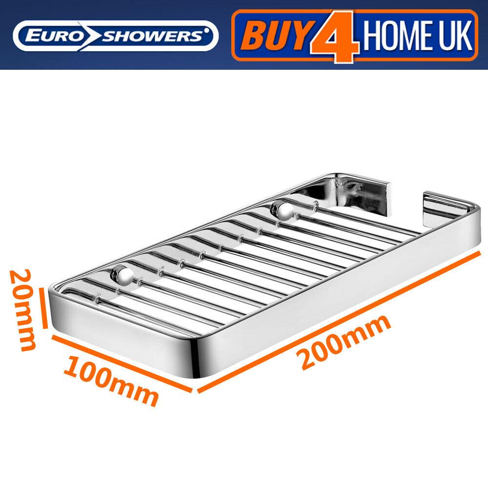Euroshowers Brass Chrome Wall Mounted Single Bathroom Shelf Storage Caddy