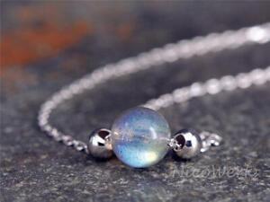 Silberkette-mit-Anhaenger-Mondstein-Rund-Kugel-Mit-stein-Halskette-Damen-925