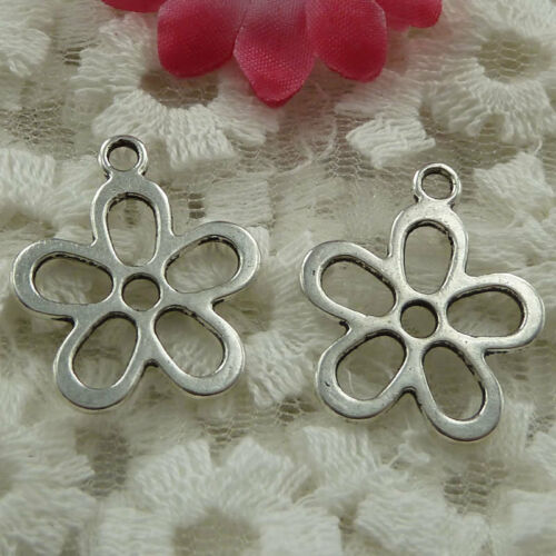 Free Ship 50 pieces Antique silver flower charms 25x21mm #823