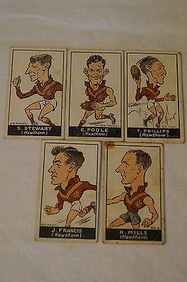 Hawthorn - 1930's Standard Cigarettes - Bob Mirams Caricatures - Complete Set.