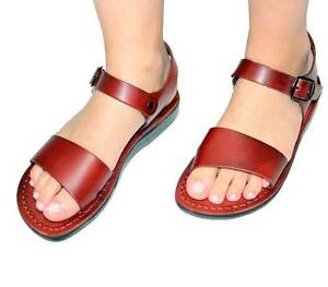 Jerusalem Biblical Jesus Flip Flops Sandals Brown Leather Strap Handmade women