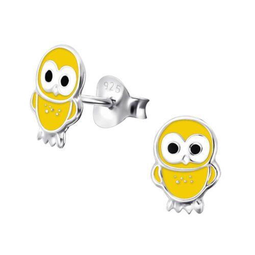 Eule Ohrstecker 925 Echt Silber mit Emaille Ohrringe Mädchen Baby Kinder