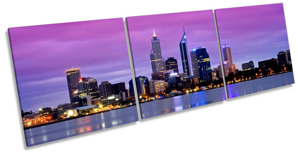 Perth City Skyline Australia TREBLE CANVAS WALL ART Box Frame Print