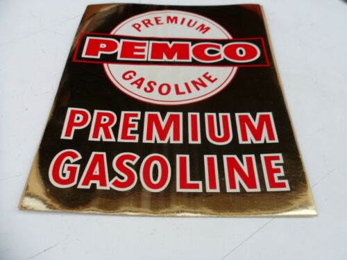 "RARE Original Gold 12/"" PEMCO FINA Gas /& Oil Pump Service Station STICKER DECAL"