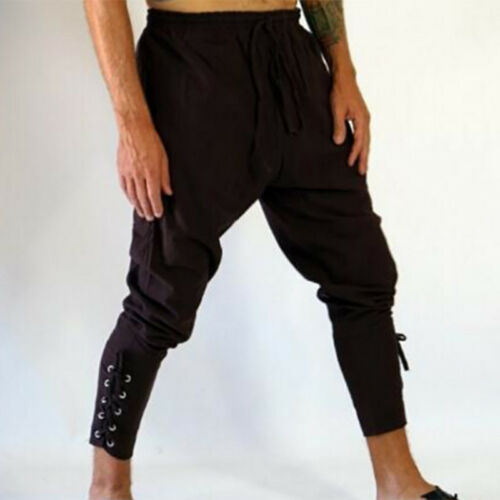 Men Medieval Lounge Pirate Horseman Costume Loose Leg Bandage Pants Trousers New