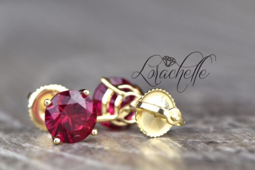 2.0 ct Round Cut Ruby Screw Back Earring Studs 14K Yellow Gold