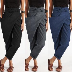 Mode-Femme-Pantalon-Loisir-Ceinture-Beach-Quotidien-Poche-Asymetrique-Plus-Long