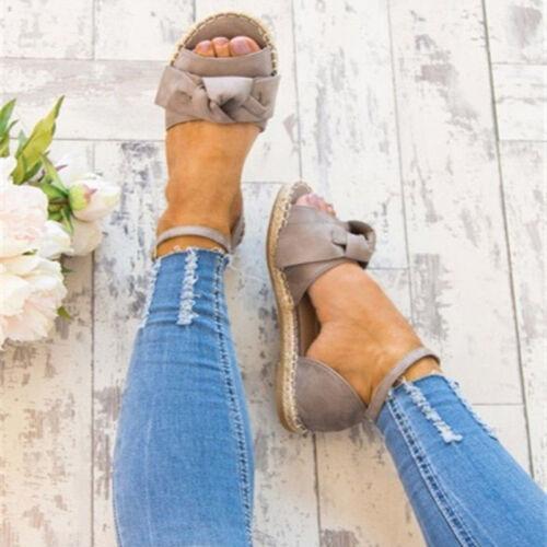 Damen Espadrilles Schnüren Sommer Sandalen Bowknot Flach Schuhe Riemchen Vintage