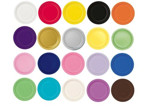 """7/"""" 9/"""" Paper Round Plates Cake Dinner Plain Colour Party Tableware Catering"""