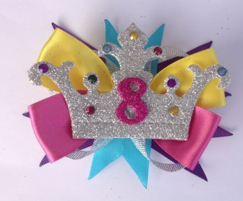 Rainbow Birthday Crown Badge Age Number Hair Bow Ribbon Girls Alligator Clip