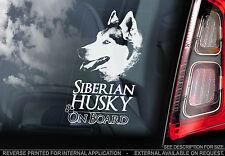 Husky - Car Window Sticker - Siberian Dog on Board Sign Art Decal Gift - V01