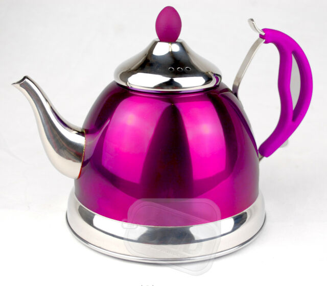 Stainless Steel T POT TEA 1.5Ltr small purple WARM on GAS ELECTRIC ...