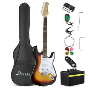 Donner 39 Inch Electric Guitar Bundle SUNBURST + Rechargeable Amplifier, Case