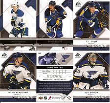 2008-09 UD Upper Deck SP Game Used St. Louis Blues Team Set w/ RC's (6)