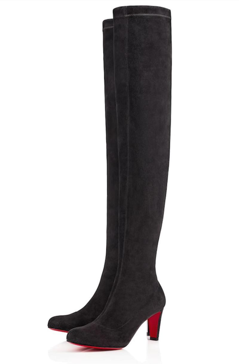 NIB Christian Louboutin Suede Alta Top 70 Grau Suede Louboutin Thigh High Tall Heel Stiefel 37.5 716776