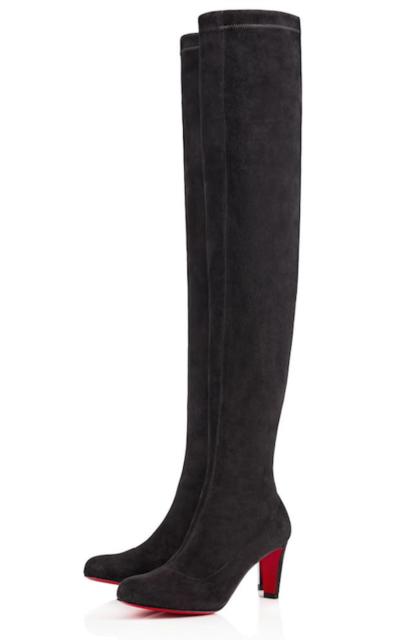 buy popular 1cf22 c1419 Christian Louboutin ALTA Top 70 Grey Suede Thigh High Tall Heel BOOTS 37.5