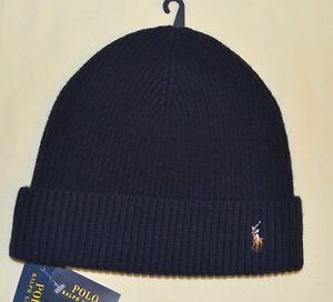 52330b79b79 New POLO RALPH LAUREN Mens Merino Wool Watch Cap Skull Cap black hat ...